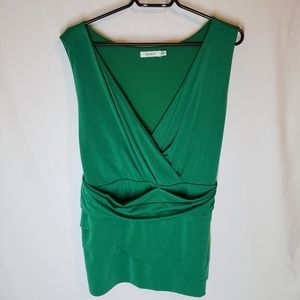 Rickis XXL ruched cross over emerald green top